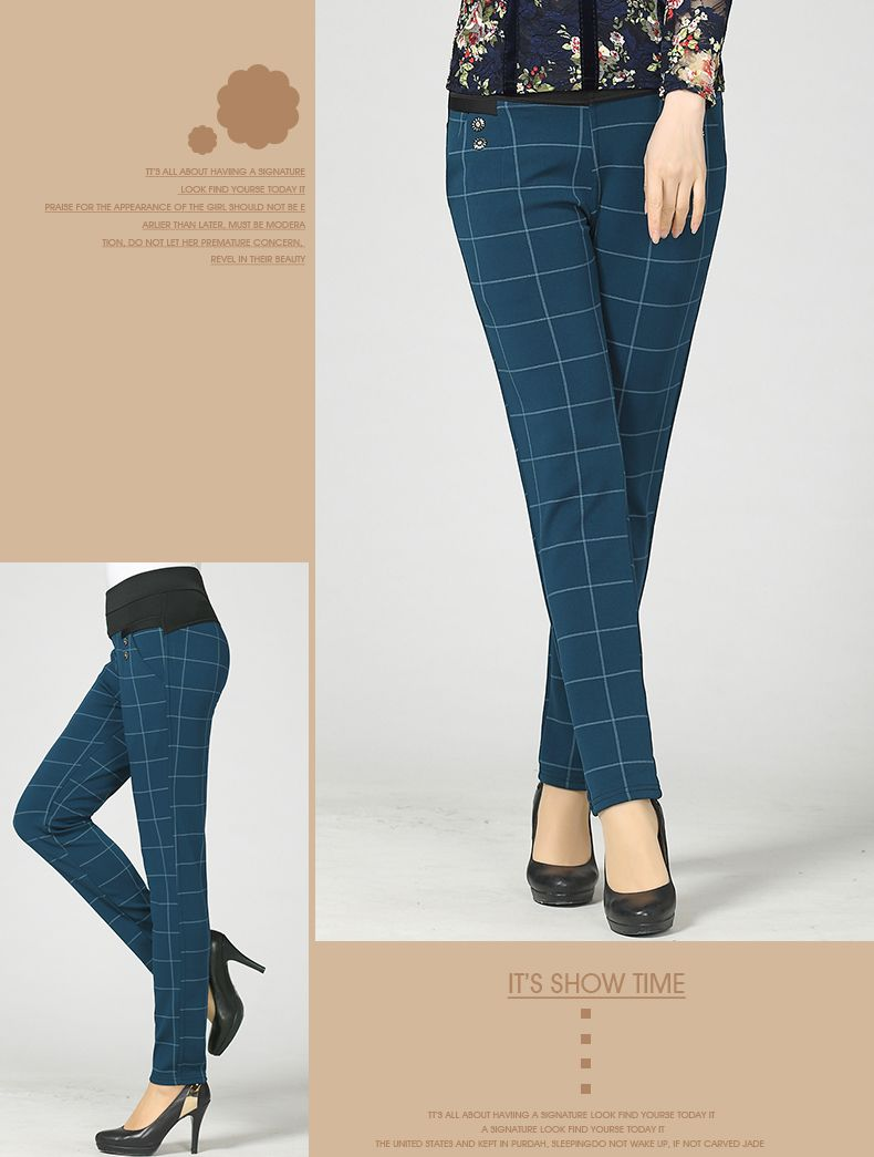 Woman Casual Pant Navy Blue Green Black Plaid Trousers Women Spring Autumn Winter Trouser High Waist Elastic Band Pantalonese Mujer  (20)
