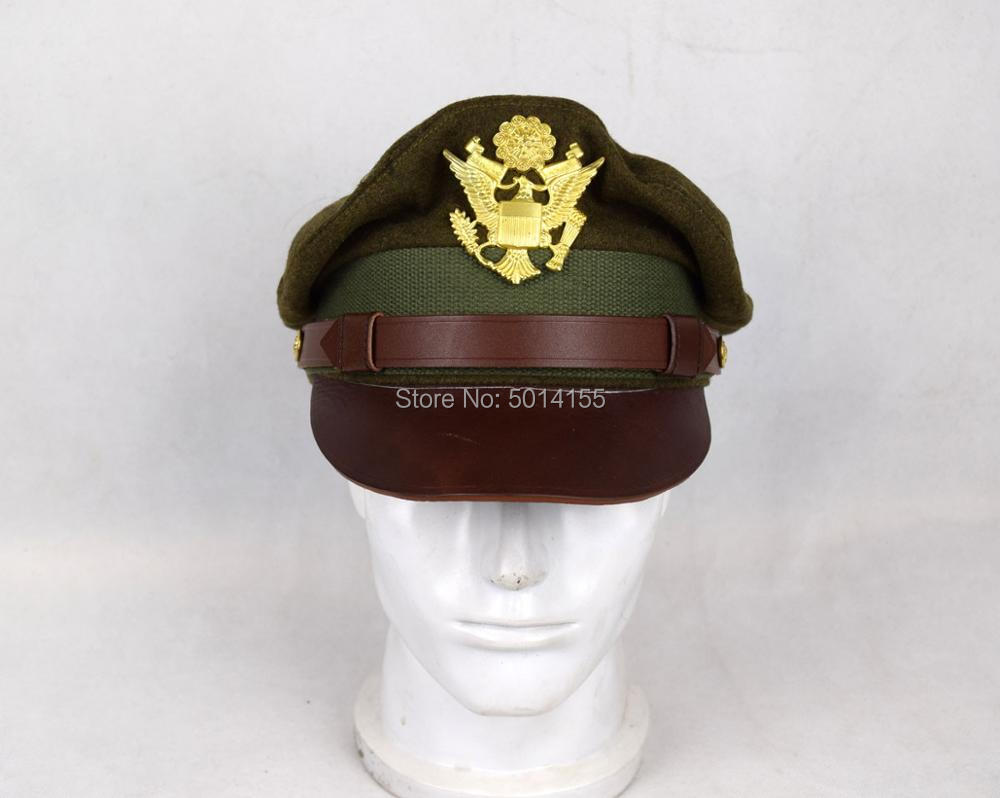 Replica WW2 US Army Aircorps Military Officers Pilots Visor Crusher Hat Cap(China)