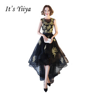 It S Yiiya Black O Neck Sleeveless High Low Party Gown Prom Gown Applique Lace Tea