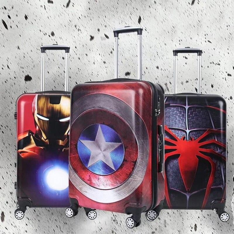 การ์ตูนกระเป๋าเดินทางกัปตันอเมริกา Iron man 20/24 นิ้วเด็กกรณีรถเข็นกระเป๋าเดินทาง rolling กล่อง-ใน กระเป๋าเดินทางแบบแข็ง จาก สัมภาระและกระเป๋า บน AliExpress - 11.11_สิบเอ็ด สิบเอ็ดวันคนโสด 1
