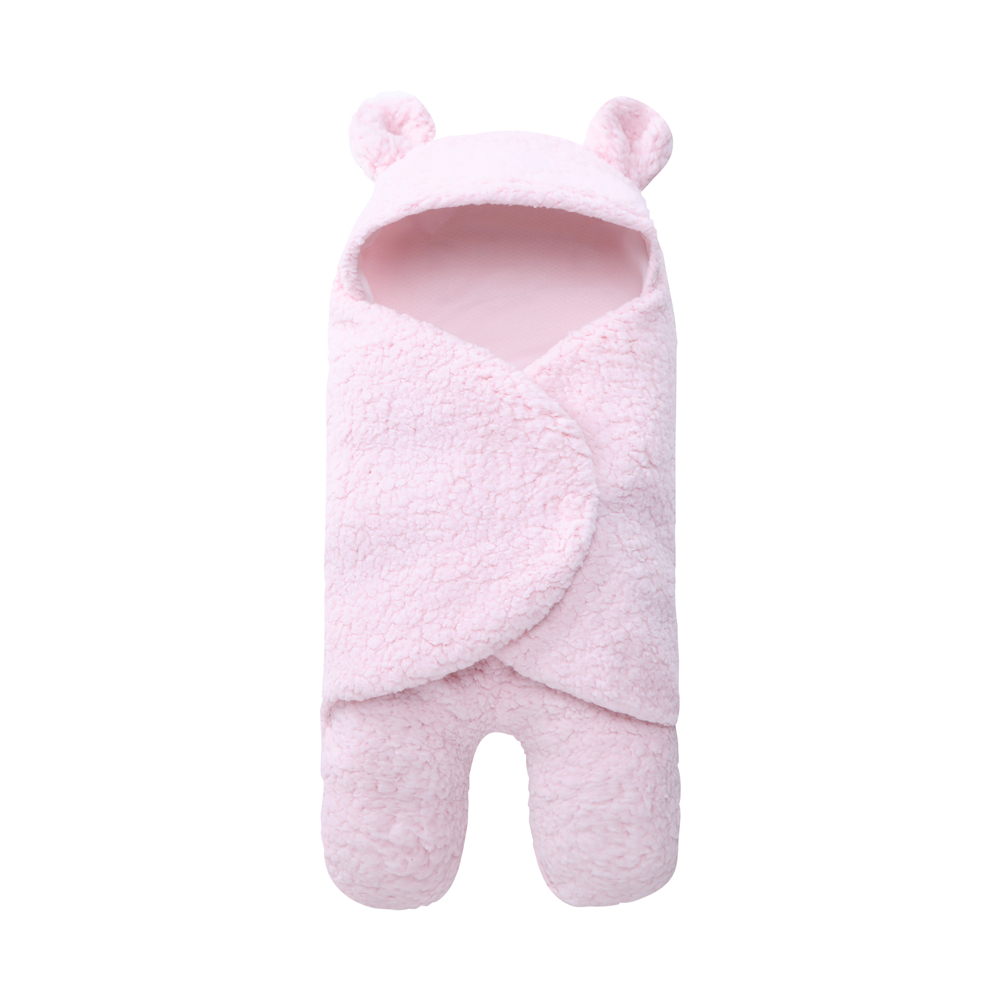 Yeedison Autumn Winter Envelope For Newborns Solid Warm Baby Sleeping Bag Coral Fleece Infant Swaddle Blanket Hooded Footmuff (5)