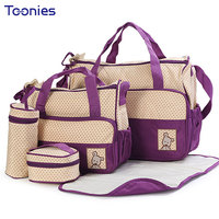 New High Quality 5 Each Set Hand Bags Diaper Nappy Durable Bag Mummy Bag Baby Bags