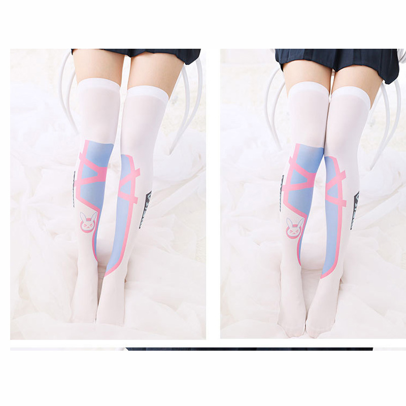 Game D.VA Printed Cosplay Stockings Women Girl's Socks Lotita