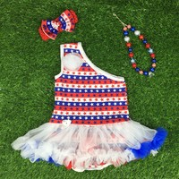 2016 new design Baby Girl fourth of july outfits baby girl clothing July 4th chevron star romper set FREE SHIPPING