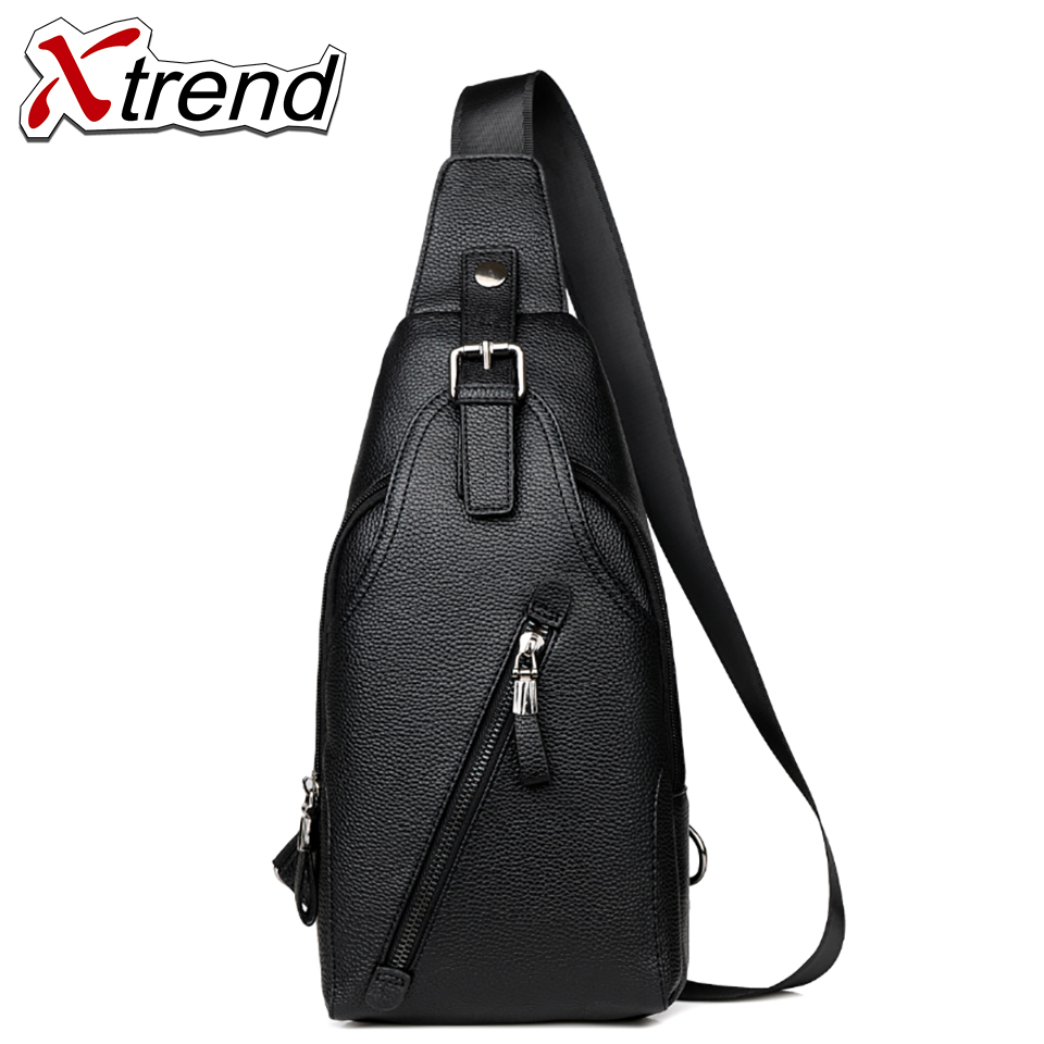 Xtrend High Quality Men PU Leather Vintage Sling Chest Back Day Pack Travel fashion Cross Body Messenger Shoulder Bag стоимость