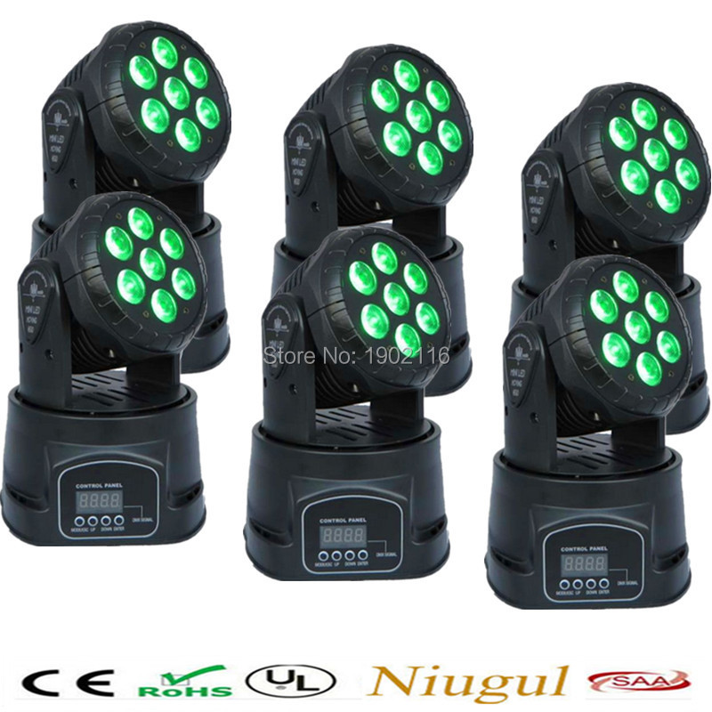 6pcs/lot 7x12W RGBW 4in1 LED Moving Head Wash Light DMX stage Light dj equipment disco KTV club lighting wedding holiday lights 2pcs lot 10w spot moving head light dmx effect stage light disco dj lighting 10w led patterns light for ktv bar club design lamp