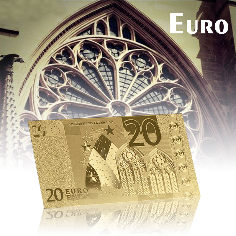 WR Color Gold Plated <font><b>Euro</b></font> <font><b>Banknotes</b></font> 24K Gold Foil Fake <font><b>Euro</b></font> <font><b>20</b></font> Notes Paper Money Bill for Collection Gifts image