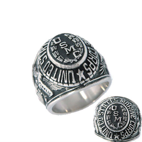Free shipping united states marine corps usmc ring for Biker jewelry stainless steel
