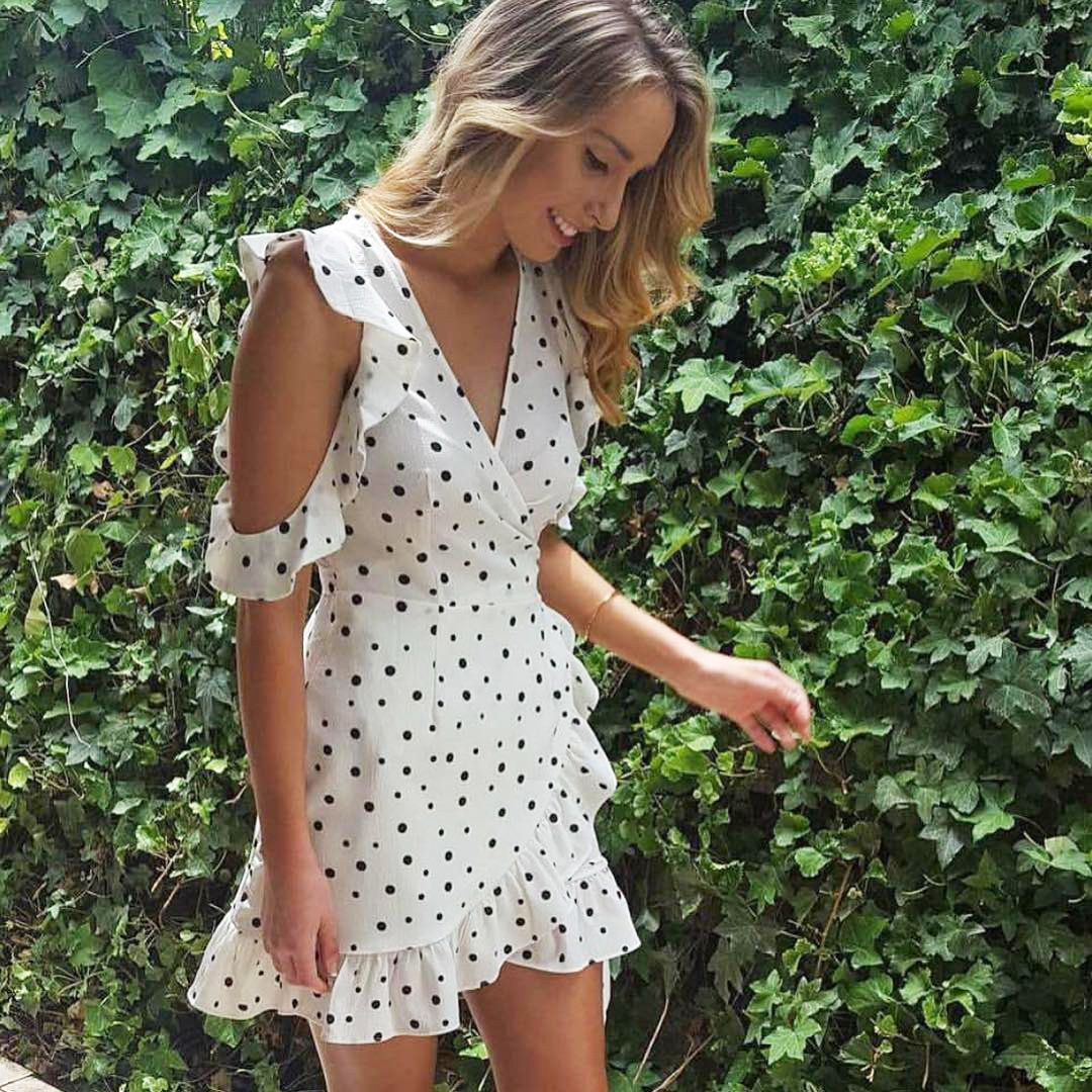 0de32409bc Fun Orange Ruffle Cold Shoulder Dot Print Summer Dress Vintage Irregular  Bow Wrap Short Dress Women Elegant Chiffon White Dress-in Dresses from  Women s ...