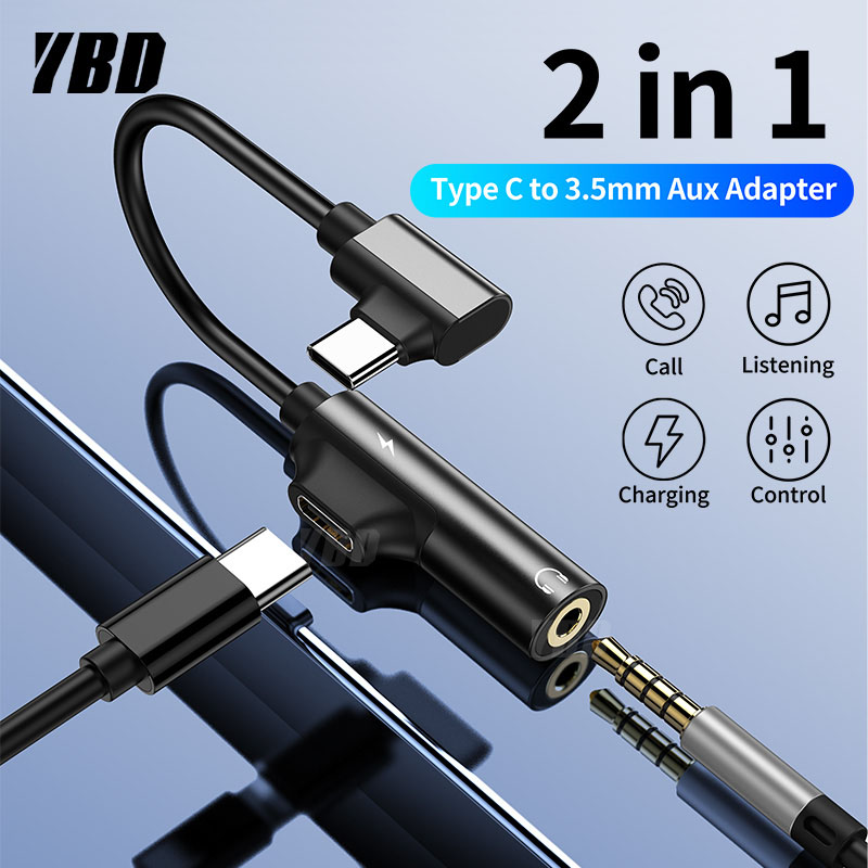 YBD Usb C To 3.5mm Aux Jack Audio Cable For Xiaomi 9 Huawei P30 Pro Oneplus 7 Audio Splitter Adapter Type-C Charging Adapter