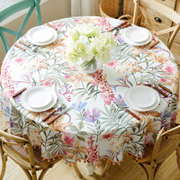 European style cotton linen table cloth fabric living room home American pastoral big round table cloth