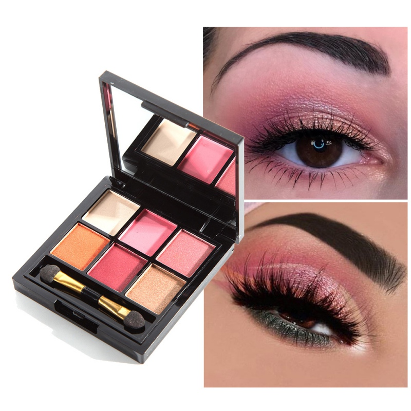 2019 6 Colors Smoky Warm Eyeshadow Makeup Palette Pigment Eyeshadow Waterproof CosmeticsEye Shadow Palette With Brush in Eye Shadow from Beauty Health