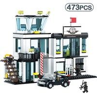 473pcs Police Station Prison Figures Compatible Legoinglys City Car Building Blocks Enlighten Bricks Sets Toys For Children Gift