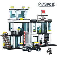 473pcs Police Station Prison Figures Compatible Legoinglys City Car Building Blocks Enlighten Bricks Sets Toys For Children Gift
