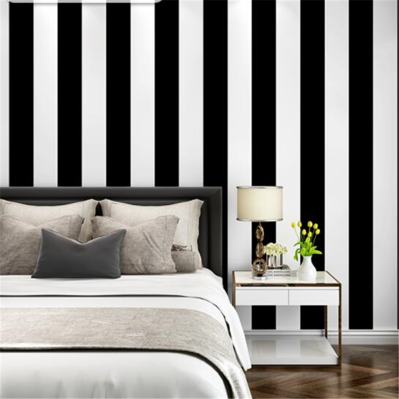 Us 2626 29 Offbeibehang Black And White Vertical And Horizontal Stripes Wallpaper Modern Living Room Coffee Clothing Shop Background Wallpaper In