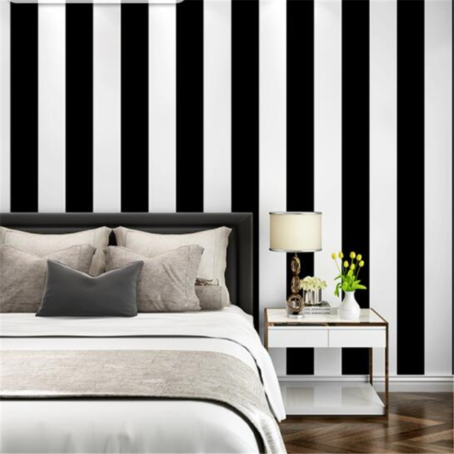 Beibehang black and white vertical and horizontal stripes wallpaper modern living room coffee for Black and white striped wallpaper living room