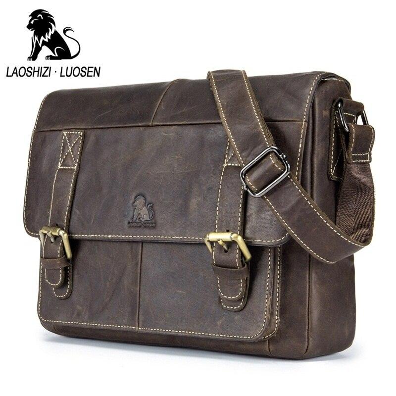 LAOSHIZI LUOSEN en cuir véritable hommes sacs à bandoulière Vintage décontracté hommes voyage sacs à bandoulière affaires ipad Messenger sacs