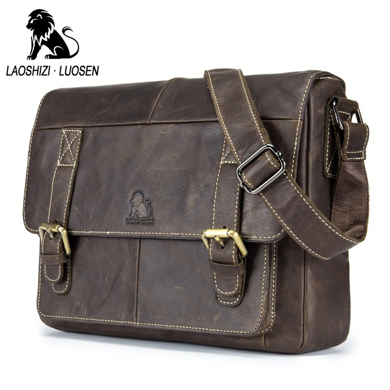 LAOSHIZI LUOSEN Genuine Leather Men Shoulder Bags Vintage Casual Men's Travel Crossbody bags Business ipad Messenger Bags
