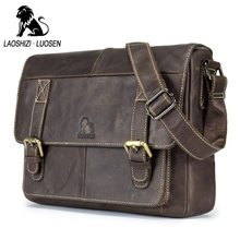 LAOSHIZI LUOSEN Genuine Leather Men Shoulder Bags Vintage Casual Men's Travel Crossbody bags Business ipad Messenger Bags(China)
