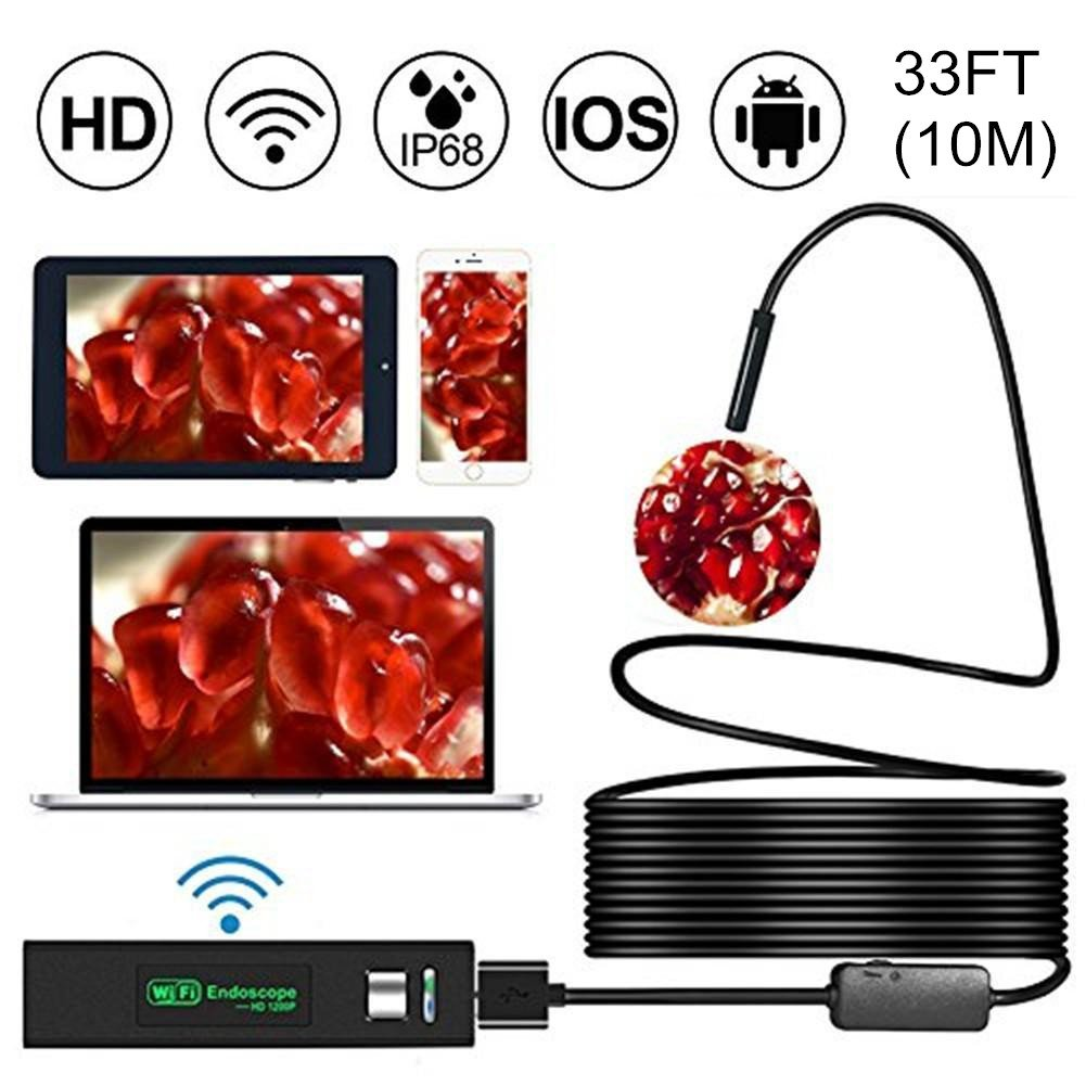 Wireless WiFi Endoscope HD 1200P Mini Waterproof Soft Cable Inspection Camera 8mm 8LED Borescope For IOS Android PC Soft Line