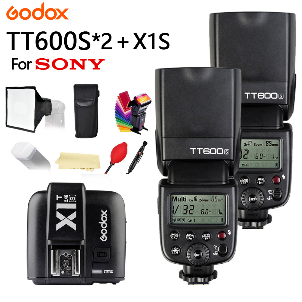 2X Godox TT600 For Sony Camera Flash With X System GN60 2.4G Wireless TTL HSS TT600S Flash Speedlite + X1T-S Transmitter Trigger