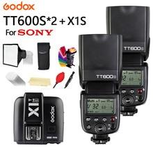 цена на 2X Godox TT600s Flash With X System GN60 2.4G Wireless TTL HSS Flash Speedlite + X1T-S Transmitter Trigger For Sony Camera