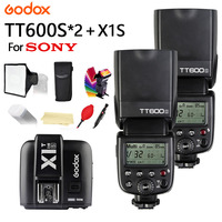 2X Godox TT600 For Sony Camera Flash With X System GN60 2.4G Wireless TTL HSS TT600S Flash Speedlite + X1T S Transmitter Trigger