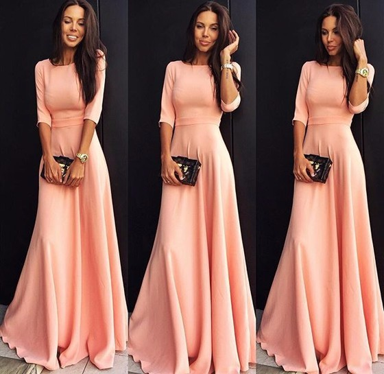 pink-plain-ruffle-elbow-sleeve-elegant-maxi-dress