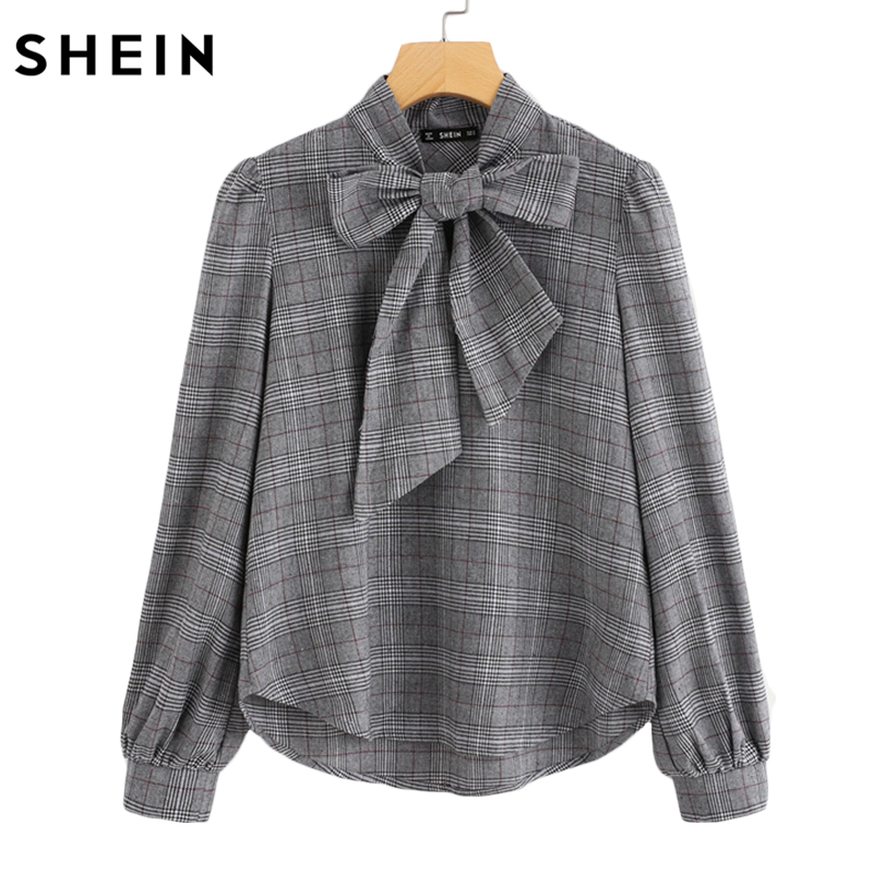 3b318d230e SHEIN Elegant Womens Tops and Blouses Work Women Blouses Grey Bow Tie Neck  Long Sleeve Regular Fit Plaid Blouse