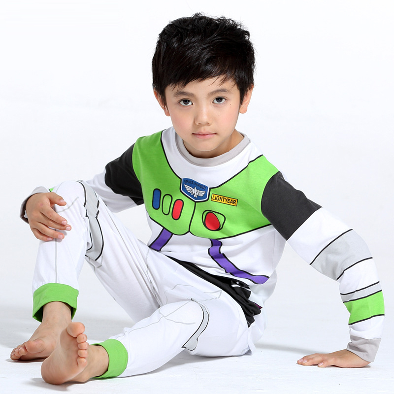 Cartoon Printed Pattern Kids Set Pajamas Set Boys Sleepwear Boys Clothes Kids Pjs Tiny Cottons Long Sleeve Top Boy Pants 2Pcs 6Y