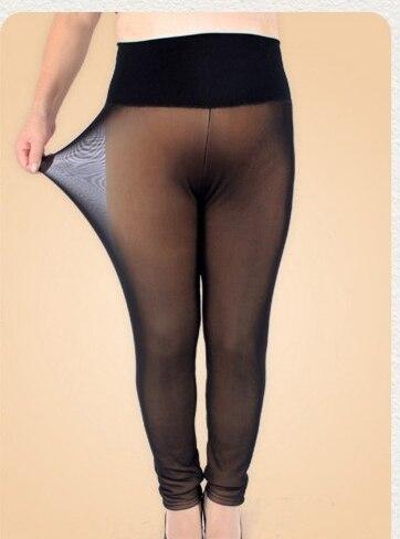 Winter Style Warm leggings Women trousers plus velvet 5XL Plus size Flesh-colored mesh waist false through meat women's pants