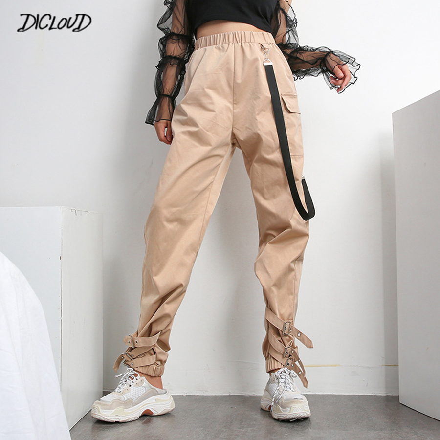Streetwear Casual Cargo   Pants     Capris   Women Elastic High Waist Joggers Buttons Fashion Hip Hop Trousers Harajuku Ladies   Pants