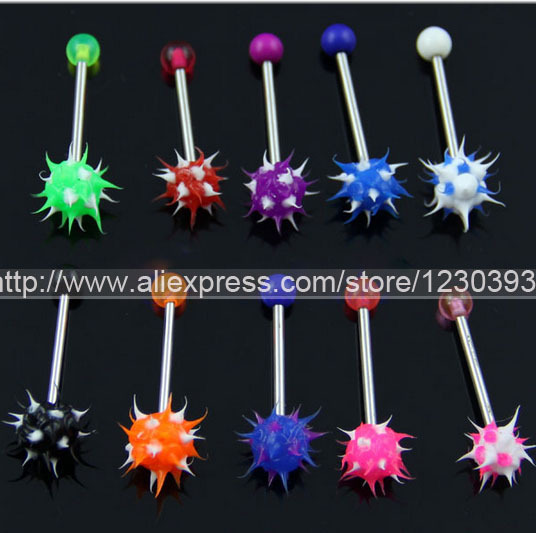 50 PCS Free shipping Spike Acrylic Fire Ear Bone Bar Stud Chin Tongue Ring Body Piercing