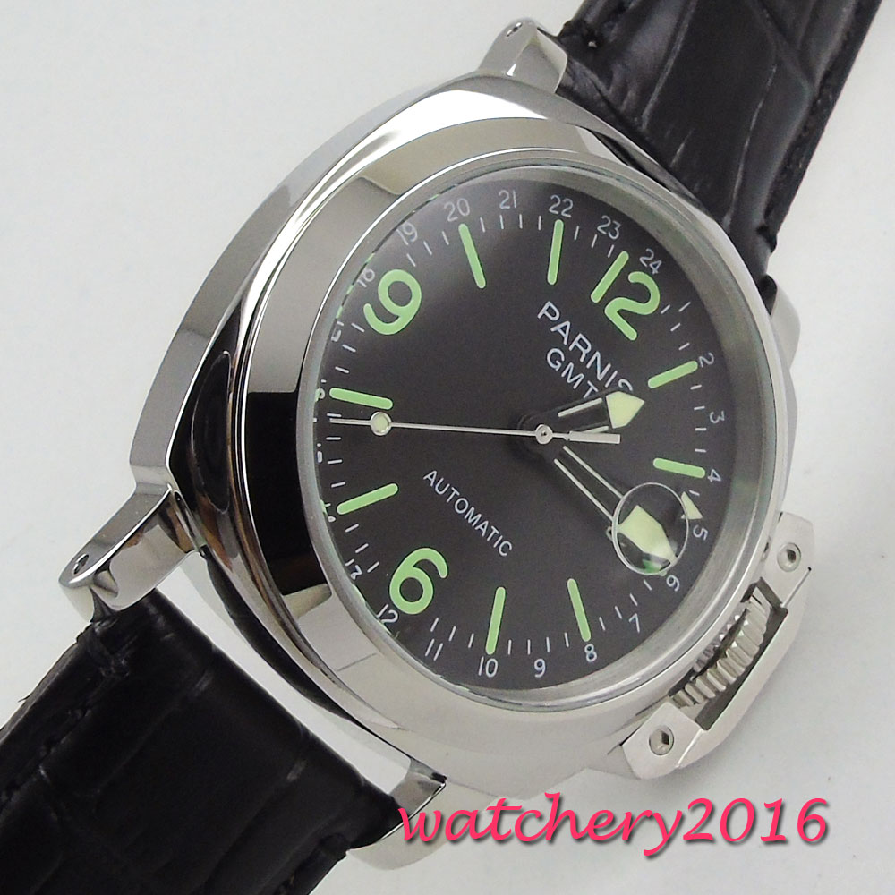 2018 New Arrival 44mm Parnis Black Dial Luminous Markers Stainless Steel Case GMT Automatic Movement Men's Business Watch