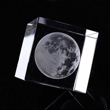 Cube-Ornaments Crystal Glass Miniatures Astronomical-Craft Gifts Laser-Engraved-Moon