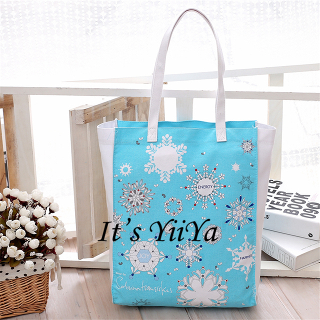 Free Shipping Casual Cotton Shopping Bags Blue with Snowflake Patterns Women Handbags Shoulder Bags Shopping Bag HL177