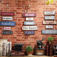 2017 new American retro wooden door decoration wall sign creative personality shop listing Home wood sign