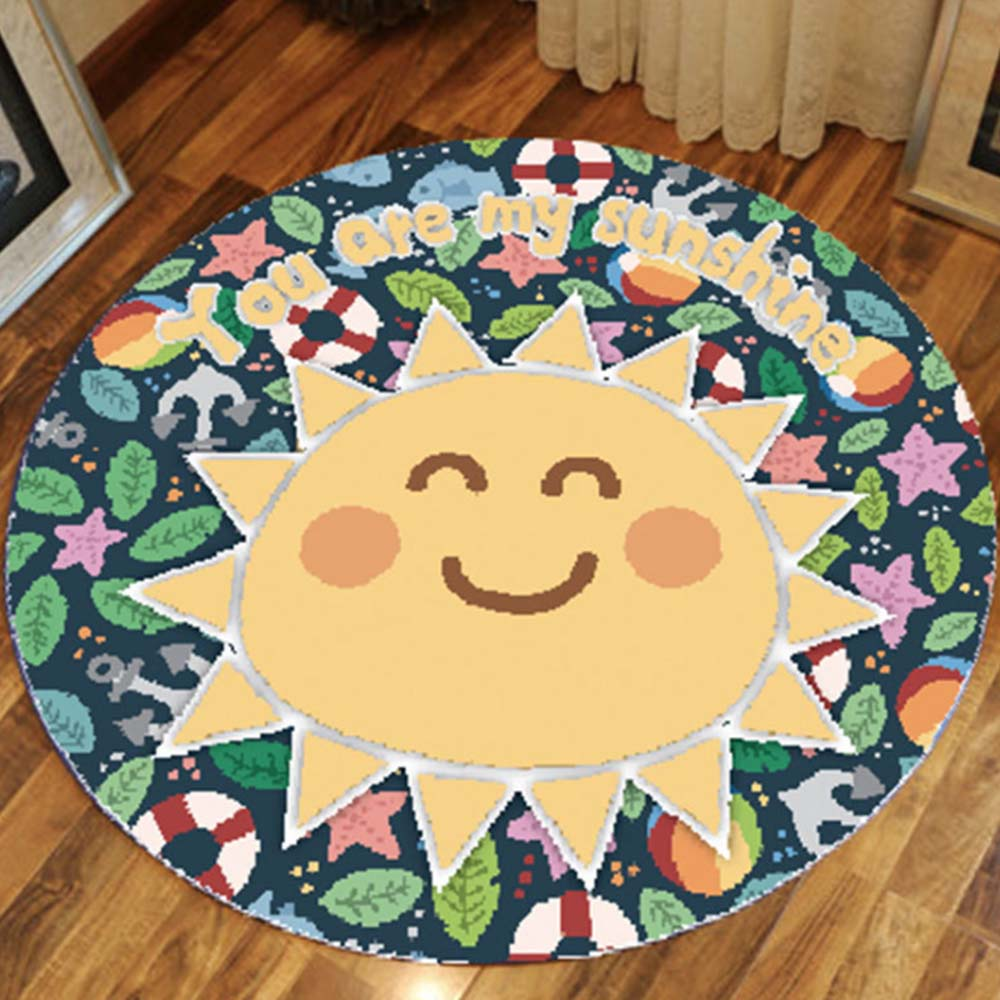 60 X 60cm Round Carpets Play Mat For Children Bedroom Area Rugs Room Mat Picnic Play Floor Mat For Children Room Skidproof Area