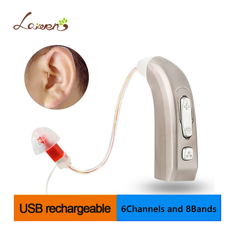 E35 Newest Rechargeable Hearing Aid Auidphones Microphone Amplifier To Profound Deaf Hearing Aids Left /Right Ear Dropshippin usb hearing aid auidphones my 33 microphone rechargeable amplifier behind the ear 2 pieces for right ear and left ear