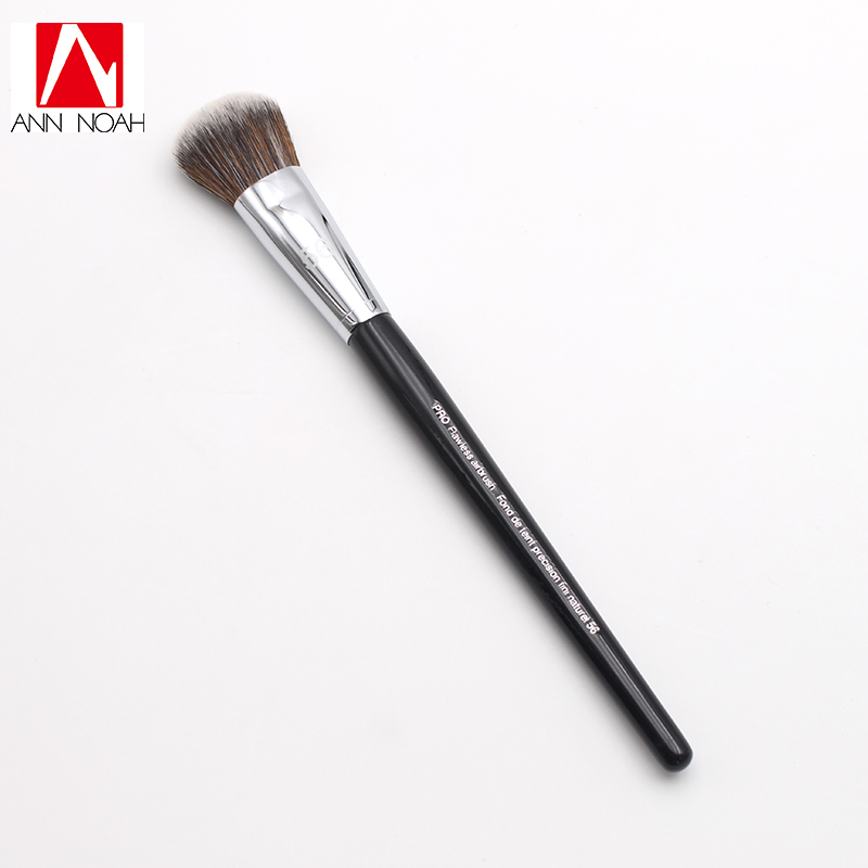 Professional Black Long Wood Handle Short Dense Synthetic Fiber 56 Pro Flawless Foundation Powder Air brush