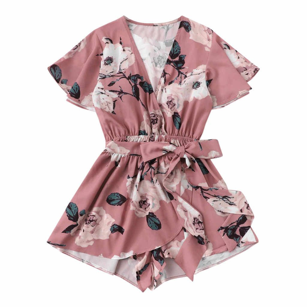 Womail Jumpsuit Playsuits Clothing Summer Women's Sexy V-neck Bow Tie Ladies Shorts Jumpsuit Floral Print Wrap Romper 2020
