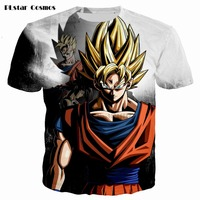 Mais novo Clássico Anime Dragon Ball Z Super Saiyan T-Shirt 3D Fogo preto Goku t Galáxia t shirt tees Hip Hop Tees topos