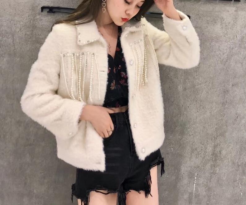 Streetwear Manteau D'hiver Épais Faux Outwear Chaud Femmes Vison Tasse De Automne 2018 Wang Mode Perles Whitney Hiver Fourrure BxgwFvX4q