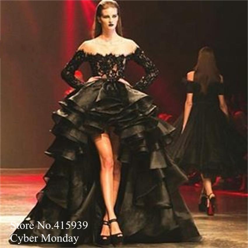 Elegant Long Sleeve Evening Dresses Short Front Long Back Black ...