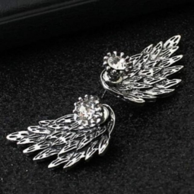 New Fashion Gold Silver Gothic Cool Angel Wings Rhinestone Alloy Stud Earrings Gifts Women's Ear Studs Party Jewelry Earrings 1