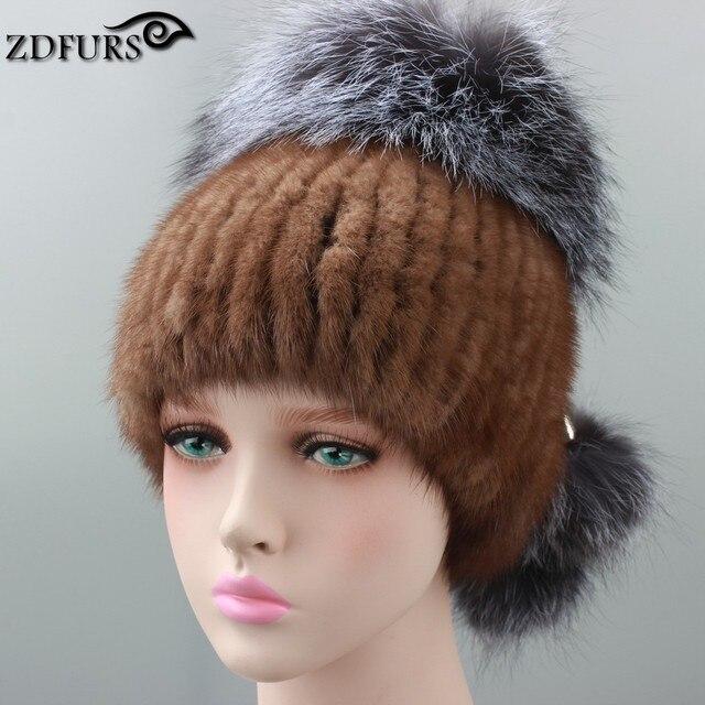 Russian Real mink fur hat for women brand winter knitted mink fur beanie cap with fox fur pom pom