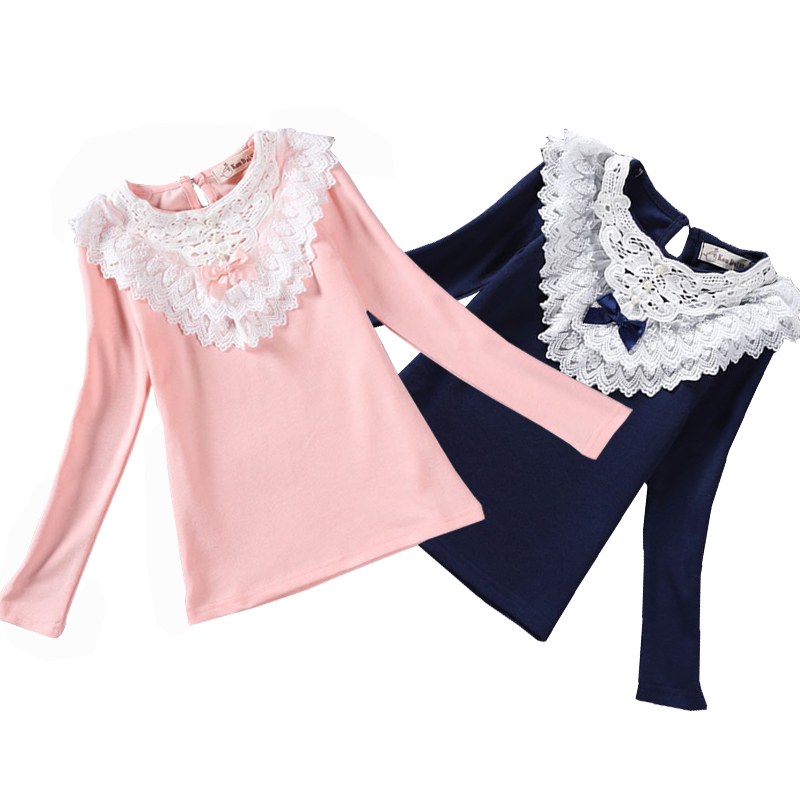 Spring Winter 2017 Girls Blouses Shirts Fashion Warm Solid Long Sleeve Lace Flower Blouses Children Girls School Cotton Clothes classic original white gothic lolita shirts 18th century long flare sleeve cotton lace lolita tops blouses for 2018