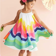 Girls Dress Summer Toddler Baby Girls Sleeveless Rainbow Print Dress Vest Dresses Clothes(China)