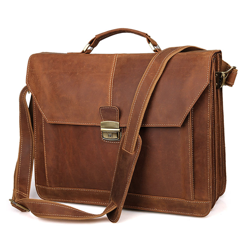 Augus Excellent Crazy Horse Leather Classic Messenger Bag Vintage Briefcase Laptop Bag In Cross Body Bag For Men 7083B