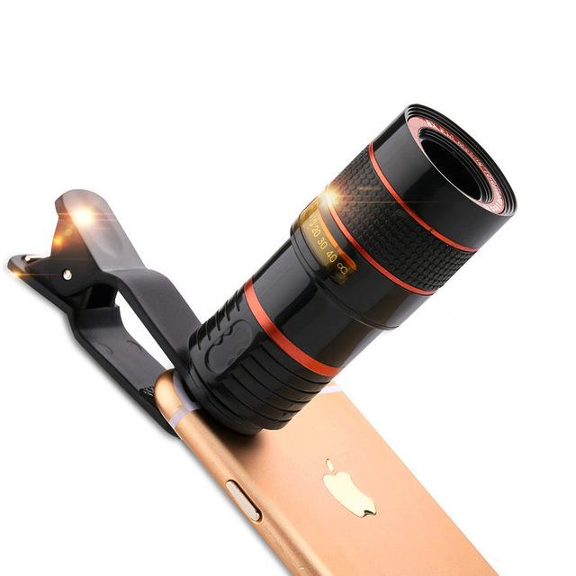 8x zoom óptico del telescopio del teléfono móvil con clip de la lente de la cámara para samsung galaxy j5 sm-j5008